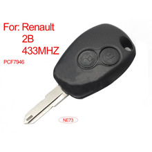 2 Button Remote Key FOB 43MHz With Transponder Chip PCF7946+ Uncut Blank Blade NE73 For Renault Clio Modus Master Twingo