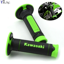 Motorcycle Dirt Bike Rubber Brake Hand grips For Kawasaki KX KLX KFX KDX 65 80 85 125 250 250F 450F 450R 150S with Kawasaki logo(China)