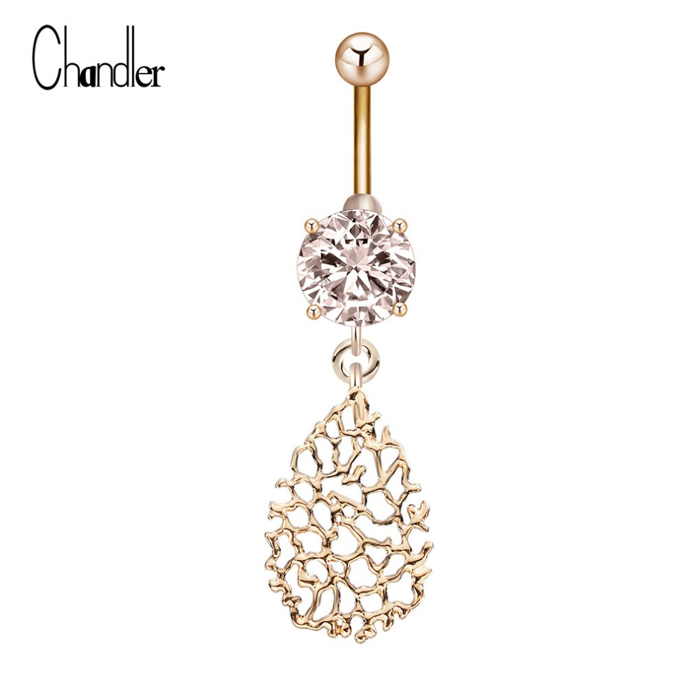 Gold Plated Black CZ Stone Fancy Filigree 925 Sterling Silver Belly Button Ring