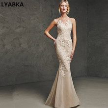 2017 New Arrival Elegant O-neck Backless Mermaid Prom dress Flower Floral Evening Dresses Long Formal Gown(China)