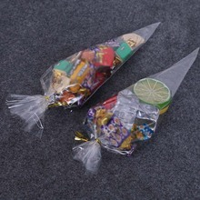 100Pcs Party Cone Bags Clear Plastic Candy Sweet Treat Christmas Gift Bag TB Sale(China)