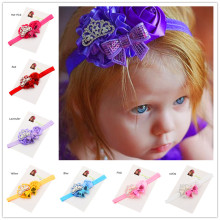 1PCS Tiara Satin Rosette Flower Bow Trio Headband   Hair Accessories headbands Fancy headband Princess Hair Bow Headband