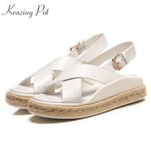 Woman Sandals Buckle Heels Straw-Soles Bottom Metal Med Punk Krazing Pot L52 Mature Handmade