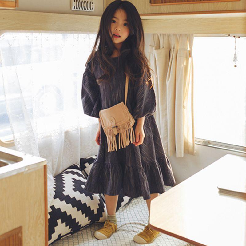 cotton linen ruffles korean kids clothes big children dresses girls new 2017 spring autumn baby girls dress lantern sleeve tees<br>