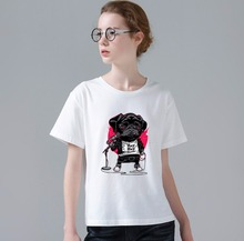 New Women Fashion T-shirt 3D Printing Sing Song Dog Design Tshirt Funny Music Dog Printed Women T Shirt W263