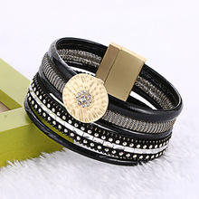 Europe America Hot Sell New Black Brown Bamboo Leather Round Rhinestone Wide Magnetic Buckle Charm Bracelets Bangles Women Gift(China)