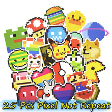 25 Pcs Pixel Style Cartoon Stickers for Laptop Luggage Skateboad Car Styling Bike Motorcycle Fridge Graffiti Decals PVC Sticker(China)
