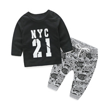 2016 spring autumn infant colthes baby boys black Long sleeve T shirt+pants 2pcs/sets sports wear