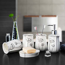 5Pcs/Set ceramic Bathroom Set Accessory Eco-friendly Wash Kit Square And Round  Soap Dish Cups Lotion Bottle