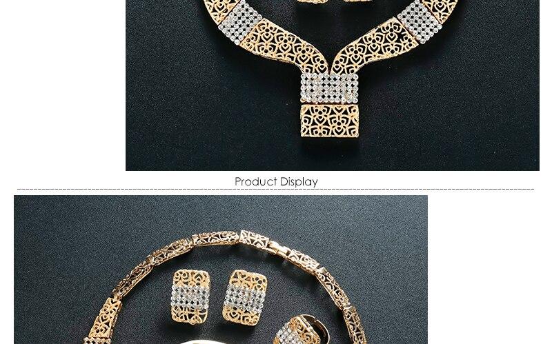 AYAYOO Women Jewelry Sets Dubai Earrings Bracelet African Beads Jewelry Set 2018 Nigerian Wedding Gold Color Jewellery (3)