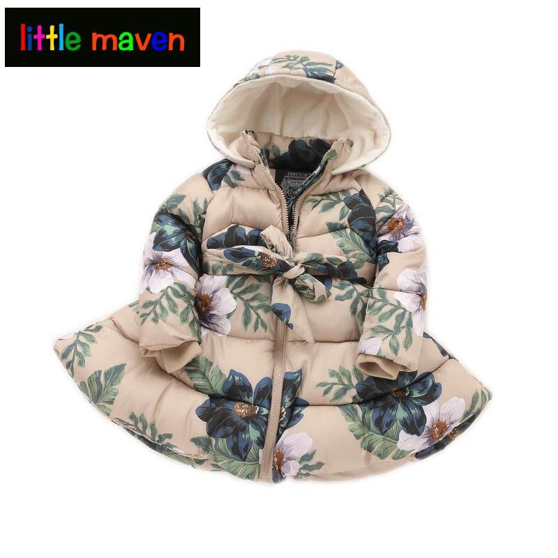 2017 Winter Girls Long Coat Graceful Vintage Floral Parkas Baby Kids Children Clothes 2-9yrs Christmas Princess Hooded Jacket<br>