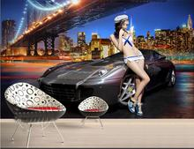 custom 3d photo wallpaper room mural sports car city nigh view 3d photo painting TV background non-woven wallpaper for wall 3d