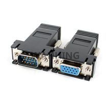 1 Pair LAN CAT5 CAT5e CAT6 RJ45 Network Cable Adapter to VGA Cable Adapter RJ45 VGA Extender Connector Female & Male HY378+1034