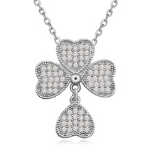 Brand New Fashion Top Quality AAA Zircon Swing Four leaf Clover Pendant Three Plating Necklace for Women and Girls Gift