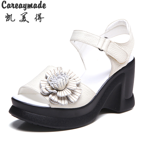 Careaymade-New genuine leather fish mouth sandals,Women high slope beauty leg thick flower Hook&amp;Look buckle sandals,3colors<br>