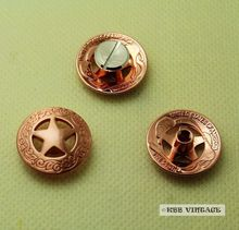 (KB201) Wholesale 50pc 3/4'' Metal Concho Western Texas Star Concho Leathercraft Copper