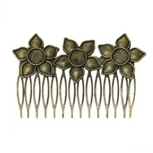 DoreenBeads (5PCs/pack) Antique Bronze Comb Shape Hair Clips with Flower Hollow Cabochon Setting(Fit 10mm Dia) 8.4cm x 5.3cm