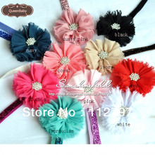 30pcs/lot   Chiffon Flower Headband Glitter Headbands Baby Girl  Hair Acessory