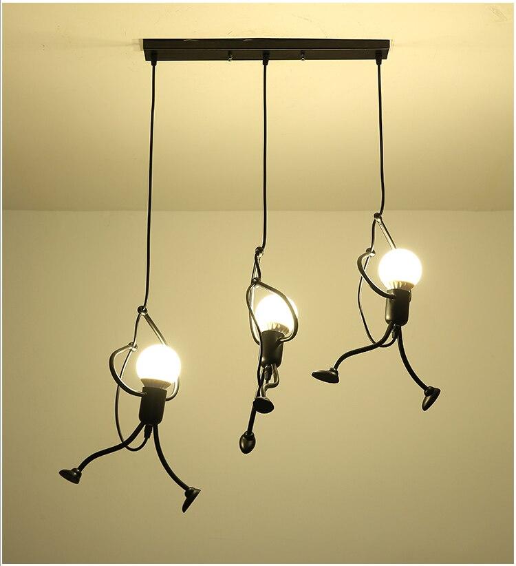 Novelty Pendant Lighting Fixtures Black Iron Dining Room Cafe Restaurant Lamps Modern Hanging Light Suspension Luminaire 8