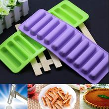 2016 Hot Sale 1PCS Silicone Bakeware Mold Chocolate Molds 10 Holes Long Finger Cake Molds Thumb Cookies Moulds