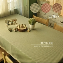 Rustic plaid fresh gremial series coffee table towel cover plaid lace edge rectangle tablecloth green pink chocklate tablecloth