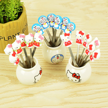6pcs/set Cartoon Hello Kitty Doraemon Fruit Fork Set Party Cake Salad Vegetable Forks Picks Table Decor Tools A(China)