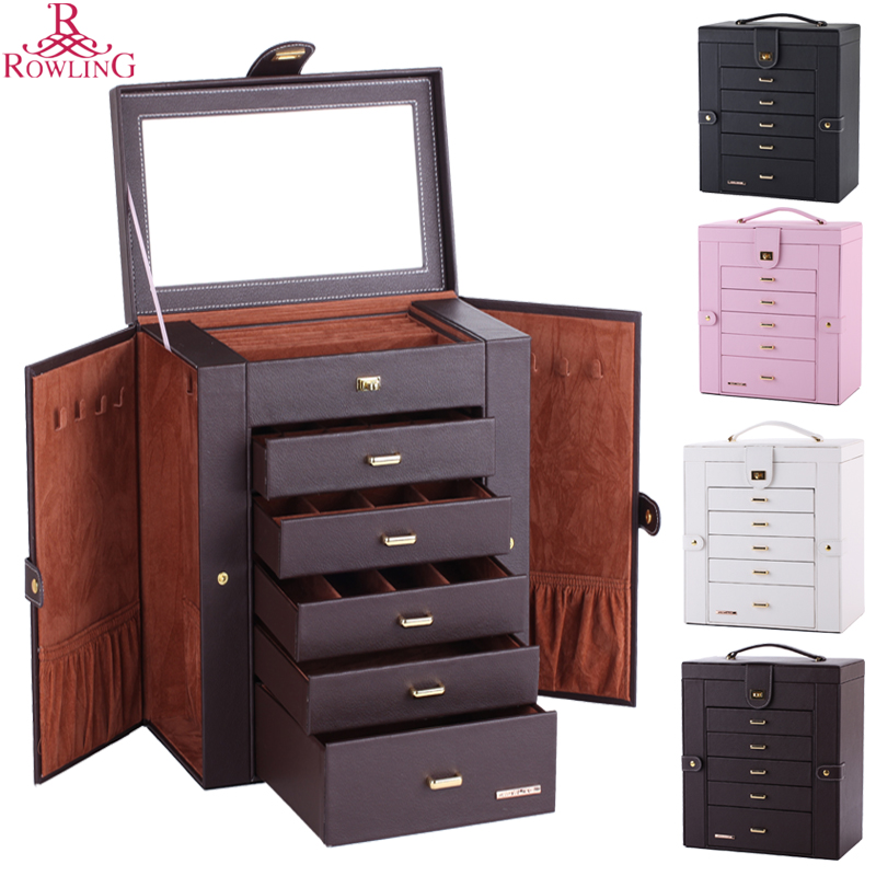 Large Capacity Jewelry Box Big Butterfly Cosmetic Chest Mirrored Leather Jewelry Cabinet Necklace Hook Ring Rolls PU Case ZG241(China (Mainland))