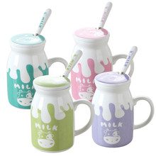 250ML 450Ml Cute Colorful Cartoon Ceramic Milk Bottle Milk  Christmas Cow Pattern Pudding Yogurt Milk  Party Supplies