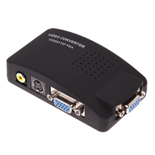 Video to VGA Converter with S-Video AV VGA In VGA Out Switch Mini Box for PC Laptop LCD TV Monitor CCTV Camera DVD Player