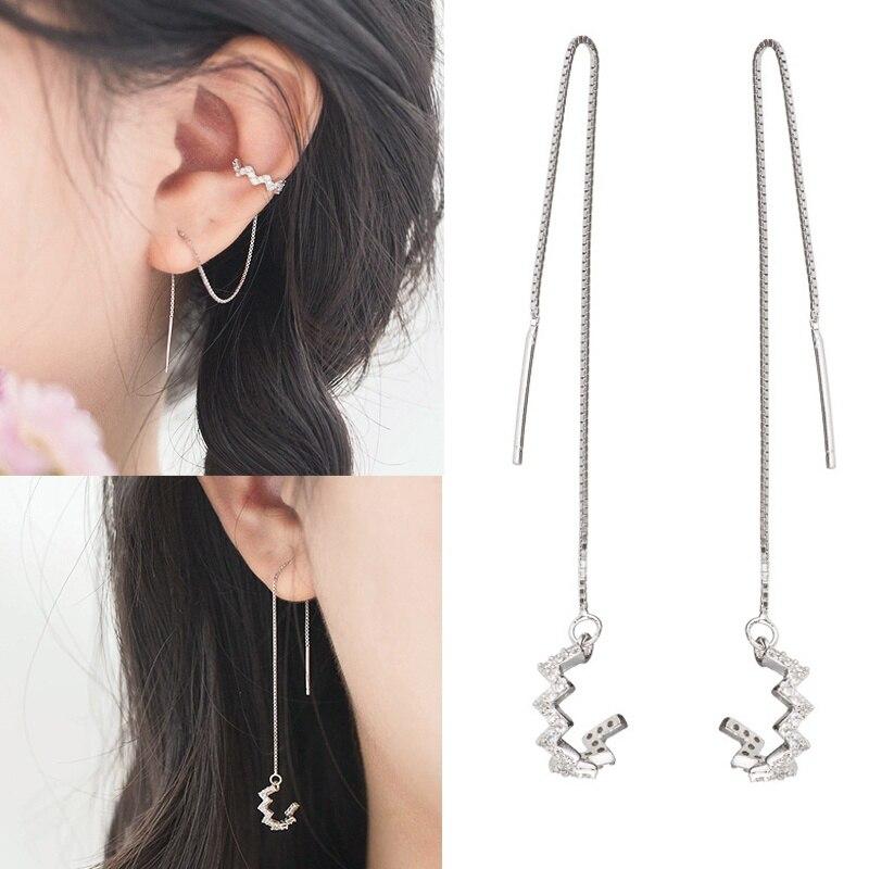 Dainty Twist Wave 925 Sterling Silver Plated Dangle Earrings For Women Girls Drop For Sensitive Ears