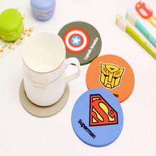4 pcs/Lot Super hero coaster Silicone cup mat Placemat for table Dining accessories Novelty households