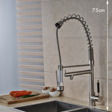 Brushed Nickel Two Swivel Spout Kitchen Sink Faucet Single Handle Spring Kitchen Hot and Cold Water Taps