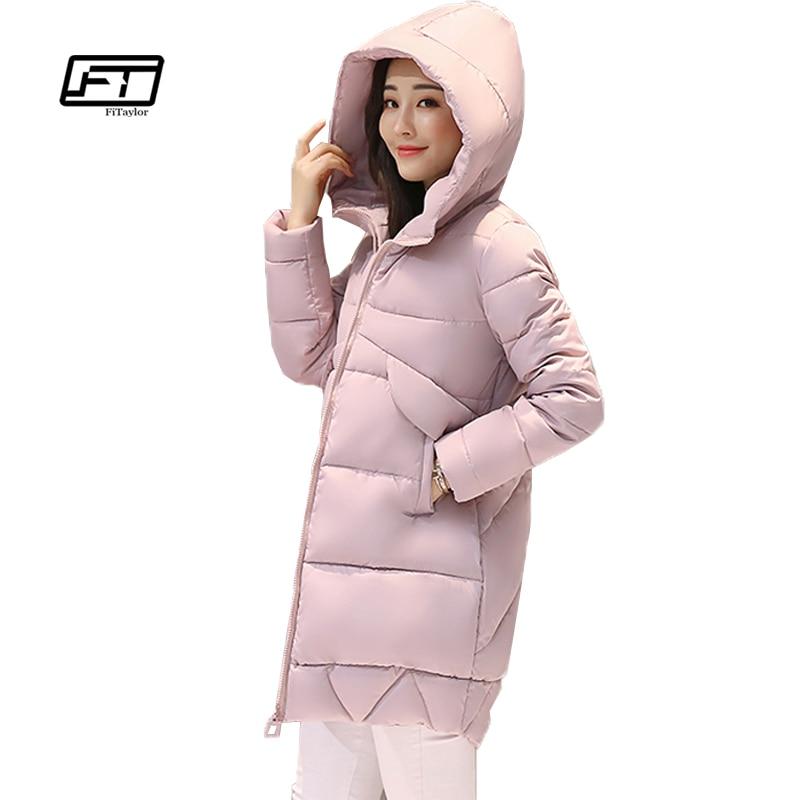 Fitaylor 2017 Winter New Medium Length Slim Solid Color Warm Bread Parkas Fashion All-match Hooded Temperament Parkas Coat WomanÎäåæäà è àêñåññóàðû<br><br>