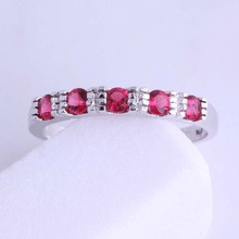 Love Monologue Prettily Stackable Ring Minimalist Red Rose Crystal 925 Stamp Silver Color Small Rings for Wedding Jewelry J0646