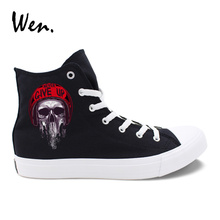 Wen Black Casual Shoes Men Design Horrible Zombie Skull Red Helmet White Canvas Women Sneakers High Top Laced Flat Plimsolls(China)