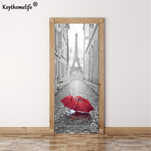 Keythemelife 3D Door Sticker DIY Mural Imitation Paris Eiffel Tower Waterproof Self adhesive Door Stickers Bedroom Home Decor E