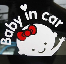 Cartoon Car Styling Car Stickers Baby with Bow Baby in Car Inside WaterProof Cars Acessories Decoration
