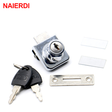 NAIERDI-407 Single Glass Lock Zinc Alloy Showcase Cabinet Door Cylinder Sliding Glass Push Door Locks For Furniture Hardware