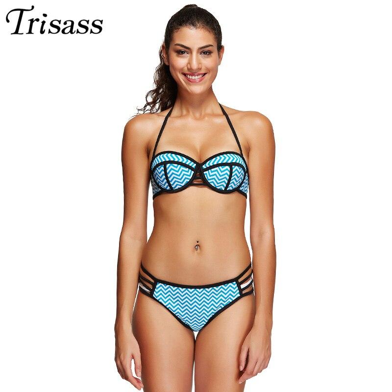 Brazilan Wavy Lines Pattern Bikinis Women 2017 Plus Size Swimwear Underwire Padded Push Up Biquini Maillot de bain Blue 3XL<br><br>Aliexpress