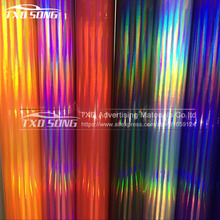 Big promotion 9 Colors Premium Holographic Chrome Vinyl Holo Film Laser Plating Car Wrap Sticker Sheet With Air Bubble Free