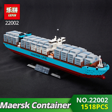 Lepin Technic Series 22002 1518Pcs The Maersk Cargo Container Ship Set Educational Building Blocks Bricks Model Toys Gift 10241