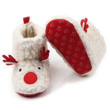 New Arrival Flock Baby Boots Christmas Deer Design Baby Toddler Girl Cute Snow Boots Prewalker Shoes 0-12 Months