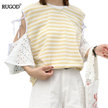 RUGOD Women Striped Tops Half Sleeve Hollow out T-shirt Bows Summer Ladies Loose shirt Female Clothes Black Yellow Kpop Top