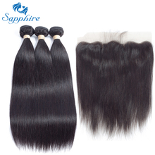 Sapphire Remy Hair Malaysian Human Hair Weave 3 Bundles With 13x4 Lace Frontal Straight Human Hair Bundles With Closure Salon(China)