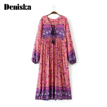 High Quality Gypsy Ethnic Maxi Dresses 2017 Spring Summer Tribe Style V Neck Bohemian Floral Print Long Sleeve Women Boho Dress