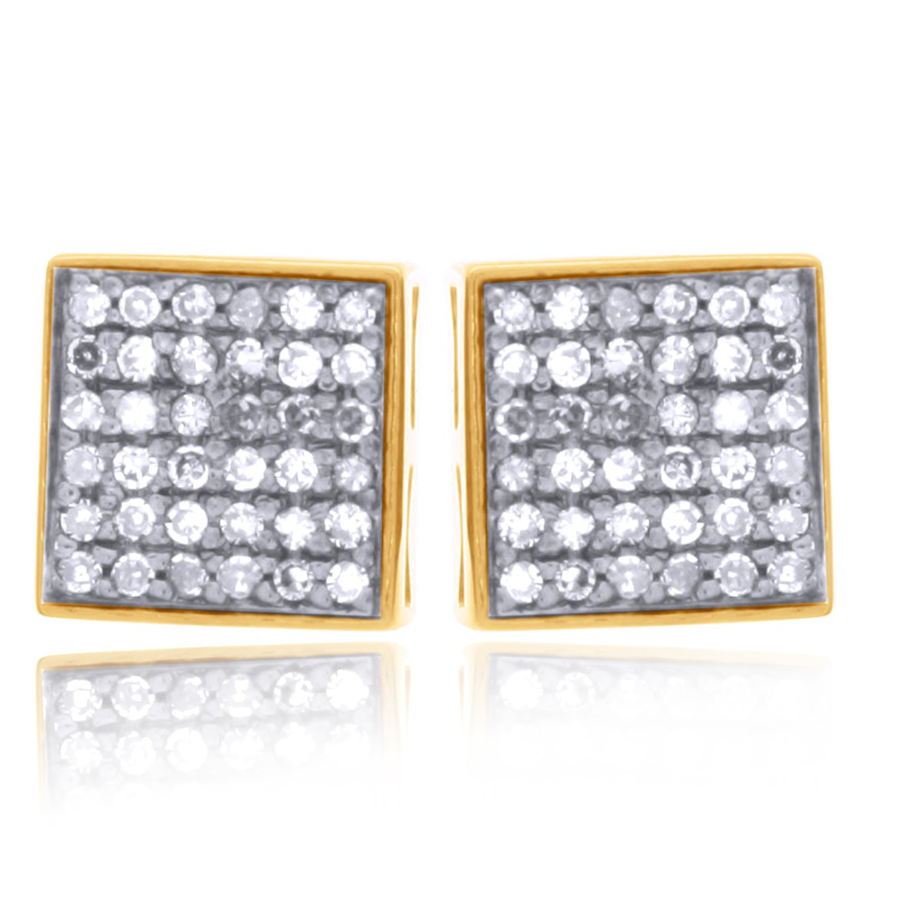 18K Yellow Gold Over Sterling Silver 0.55 ct Brown Diamond Stud Earrings (1)