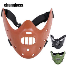 Cos The Silence of the Lambs Movie Hannibal Lecter Resin Mask Scary Horror Mask Halloween Masquerade Masks Cosplay Props masque