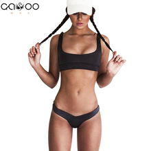 Buy New Style Beach Swimsuit Women Sexy Bikini 2018 Sport Bikini Set Backless Solid Color Summer Beach Swimming Suit swim suit