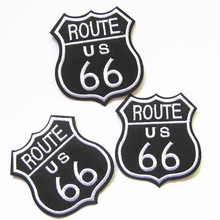 Hot Black Route 66 Us Cars America USA 60s Road Sign Applique Iron Patches DIY Hand Make Embroidered Applique Cloth Decoration