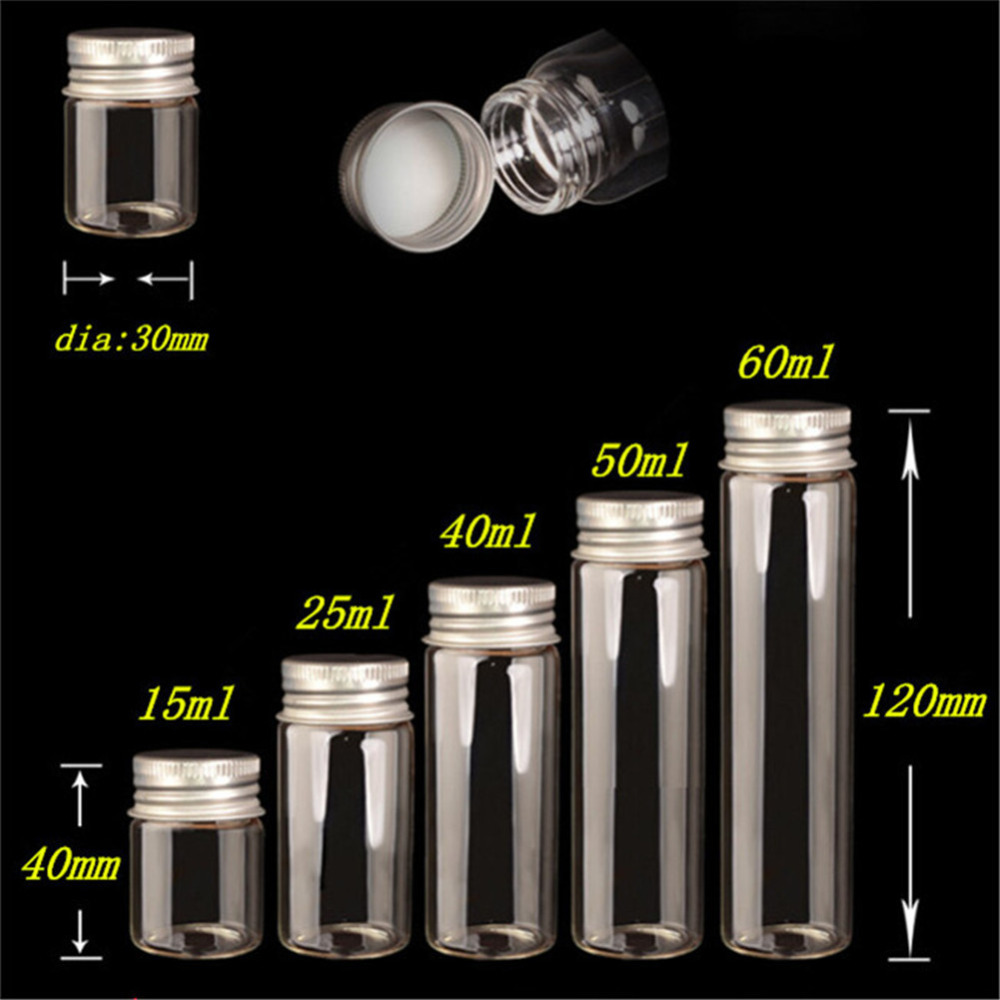 15ml 25ml 40ml 50ml 60ml Glass Bottles Decoration Crafts Bottles Aluminium Lid Empty Wishing Bottles Jar